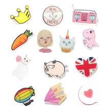 1 PCS Pink Color Series 1 Icons On backpack Acrylic Badges Cartoon Pin Badges For Clothes Decoration Badge(China)