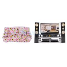 Dollhouse Miniature Living Room Furnitures 1:6 HI-FI TV Cabinet Audio Player+Couch Sofa+2 Cushions for Barbie Dolls Accessories