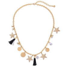 Fashion Chic Design Gold Tassel Rhinestone Stars Necklace For Women 2017 Hot Sales Accessories Jewelry