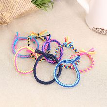 10pcs Hand Wave Colorful Braided Elastic Rubber Hairband Rope Ponytail Holder