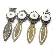 4 styles Metal Owl Bookmarks Snap Button Jewelry Fit 18mm 20mm Boom Life(China)