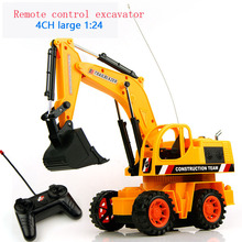 Baby toys 4Ch 1:24 large Remote control engineering truck excavator car boy toys rc car electric bulldozer kids toy gifts(China)