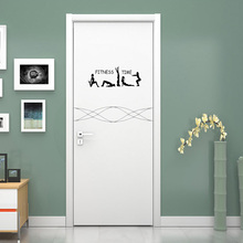 Girls Gymnast Yoga Vinyl Door Sticker Fitness Time Creative Home Decoration Wall Stickers A2310(China)