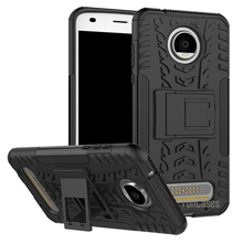 Case For Motorola Moto Z2 Play Case Hybrid Kickstand Dazzle Rugged Rubber Armor Hard PC+TPU Stand Function Shockproof Case(China)