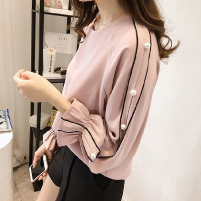 Plus size Chiffon shirt female 2018 Blusa Beaded Tops Autumn long-sleeved Women blouse Women clothing Solid color