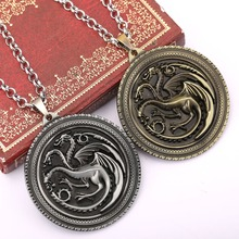 Game Of Thrones NecklaceThe Song Of Ice And Fire House Targaryen Dragon Metal Logo Pendant Coin Chocker Collar Cosplay Accessory(China)
