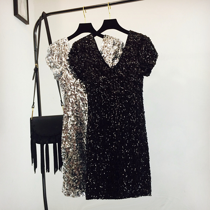 Sexy Sequin Mini Hip Dress Women Short Sleeve V Neck Shinny Beading Squined Night Club Dress Sparkly Cocktail Sexy Party Dresses 2