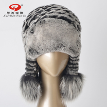 2017 New arrival hat real rex rabbit fur women`s hat genuine leather natural fur cap with ears real fox fur pom hot sale(China)