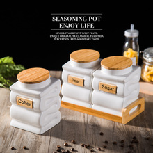 Tea suger coffee jar storage tank cereals European Style Ceramic Salt Shaker Condiments Containers with Bamboo Cover Tray