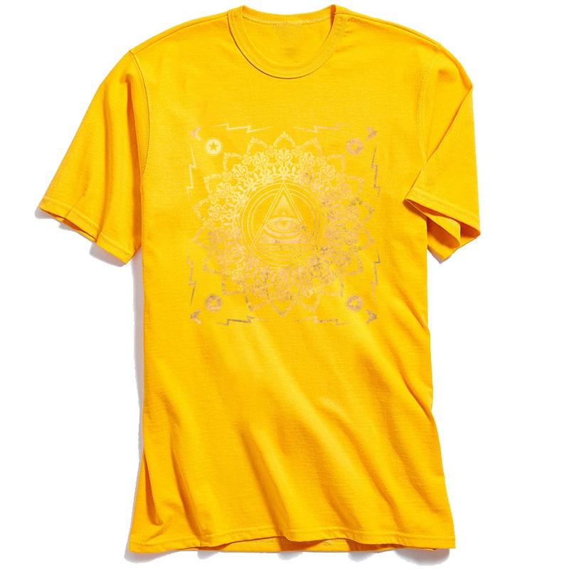 New Arrival Men T Shirts Illuminati Classic T Shirt All Cotton Short Sleeve Casual Tops & Tees O-Neck Top Quality Illuminati yellow