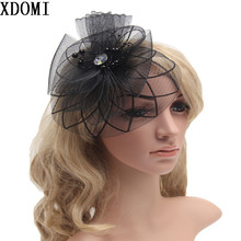 2016 Retail Wedding Holiday Fascinator Cocktail Hat For Women French Veiling Hair Headband Vintage Fashion Lady Party Accessory(China)