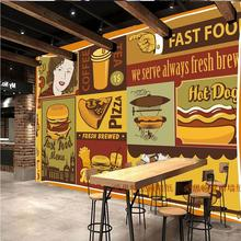 Free Shipping Pizza 3D wallpaper cartoon burger French fries restaurant fast food shop dining room Cafe wallpaper mural