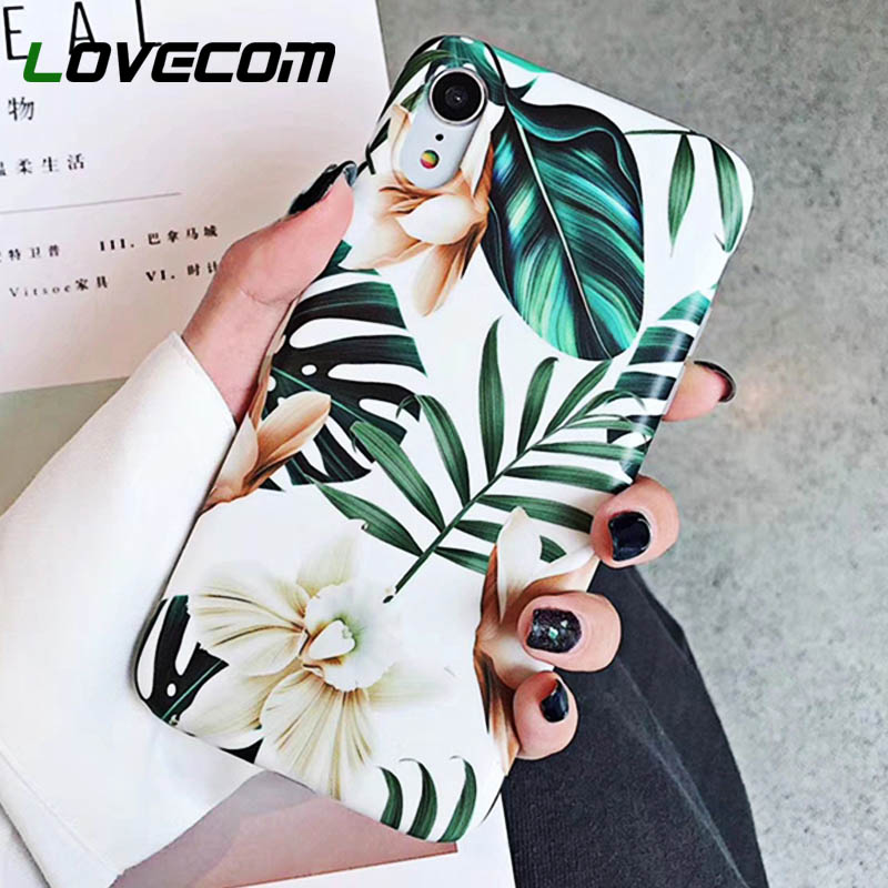 LOVECOM Art Flowers Leaf Phone Case For iPhone XS Max Case For iPhone X XR 6 6S 7 8 Plus Back Cover Fashion IMD Cases Retro Capa(China)