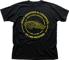 Han Solo Shipping Logistics Millennium Falcon Star Wars black t-shirt FN9408(China)