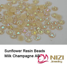 Flatback Resin Beads Jelly AB Color 6mm 5000pcs/lot Round Rhinestones 3D Nail Art Decorations Sunflower DIY Design Stick Drill