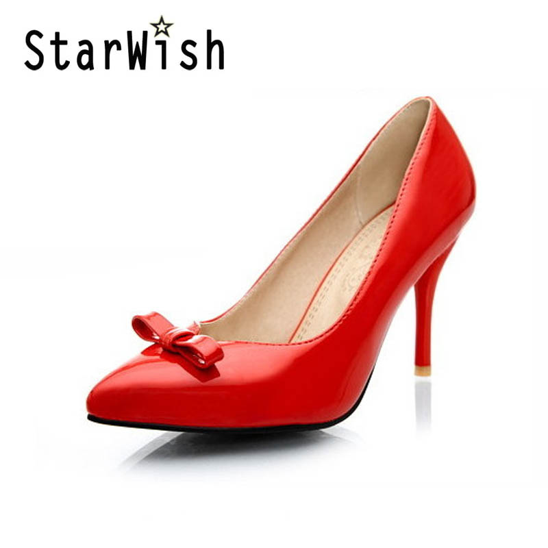 STARWISH 2017 New Spring Summer Women Pumps Shallow Thin High Heel Shoes Woman Bowtie Wedding Party Dress Shoes Plus Size 31-47<br><br>Aliexpress