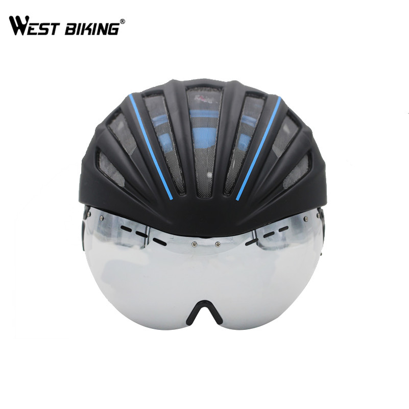 WEST BIKING Ultralight Bicycle Helmet With Lens 280g Goggles Cycling Helmet Double Layers Casco Ciclismo In-mold MTB Bike Helmet<br>