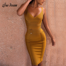 Buy 2017 Summer new women sleeveless strapless bandage dress v neck sashes dress sexy bodycon celebrity party yellow dresses vestido for $37.50 in AliExpress store