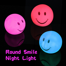 Novelty Lamp Changing Color LED Energy Smile Night Light Magic Round Colorful Bedroom Holiday Decoration For Kids Gift(China)