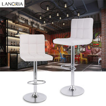 LANGRIA 2Pcs Adjustable Swivel Quilted Faux Leather Bar Stools Chairs with Chromed Base and Footrest for Bar Counter Office Home