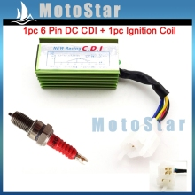 Quad Green Racing 6 Pin AC Ignition CDI Box Red D8TC Spark Plug For CG 125cc 150cc 200cc 250cc Engine Pit Dirt Motor Bike ATV