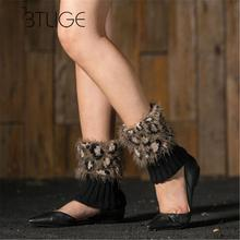 BTLIGE Women Winter Warm Leg Warmers Knitted Crochet Socks Warmmer Leg Socks Elastic Faux Fur Boots Cuffs Socks
