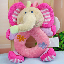 Cute Animal Baby Hand Play Rattle Baby Music Toys For Tots Plush Elephant Hand Ring Learning Bay Toy 0~12 Months(China)