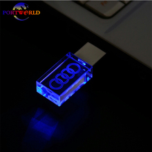 Transparent  AUDI USB Stick 8GB 16GB 32GB Flash Drive Memory USB Drive 2.0 Crystal Car Logo LED with 3 Colors