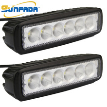 6.3 inch 2pcs 18W 1320LM Led Flood Beam Flood Light Led Fog Lamp IP67 Waterproof Offroad Bar for Off-road Vehicle, ATV, UTV, 4X4