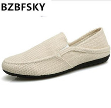 Buy BZBFSKY Breathable hemp shoes men summer canvas casual shoes slip-on flat loafers comfortable driving Loafers Dual use slippers for $15.74 in AliExpress store