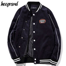 HEE GRAND Casual Corduroy Jacket Black White Striped Slim Fit Cardigan Coat Fashion Baseball Men Bomber Jacket M-5XL MWJ2443(China)