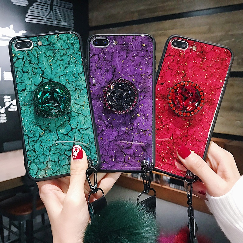 Case for Galaxy S 10 9 8 7plus edge Note 9 8 Glitter Marble Trend Diamond Bracket Fur ball lanyard phone back Coque Cover brand(China)