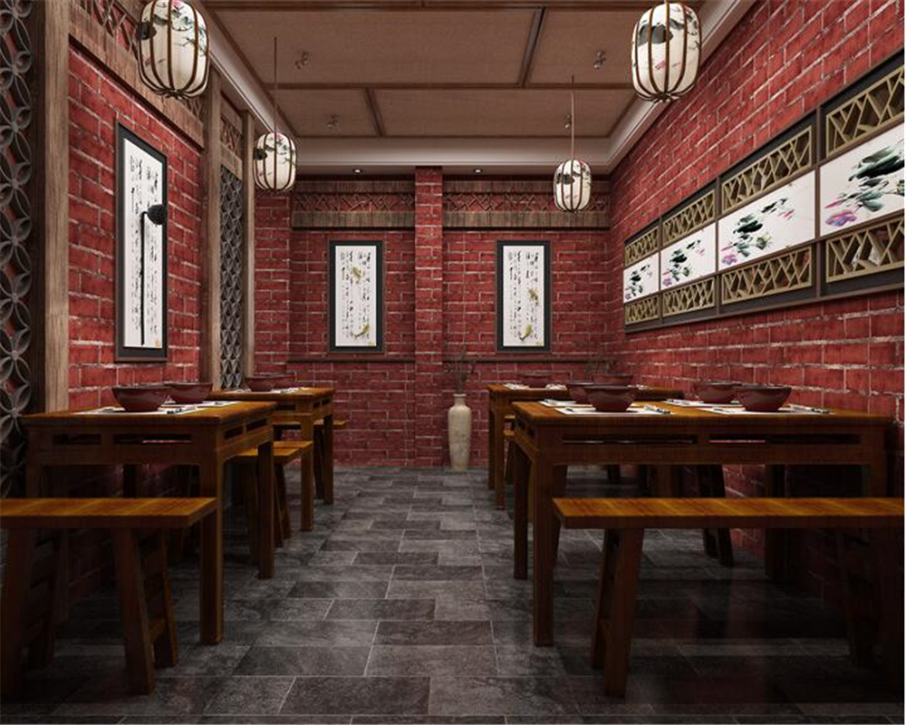 beibehang pvc latest retro personality nostalgia three-dimensional brick wallpaper cafes bars restaurants background wall paper<br>