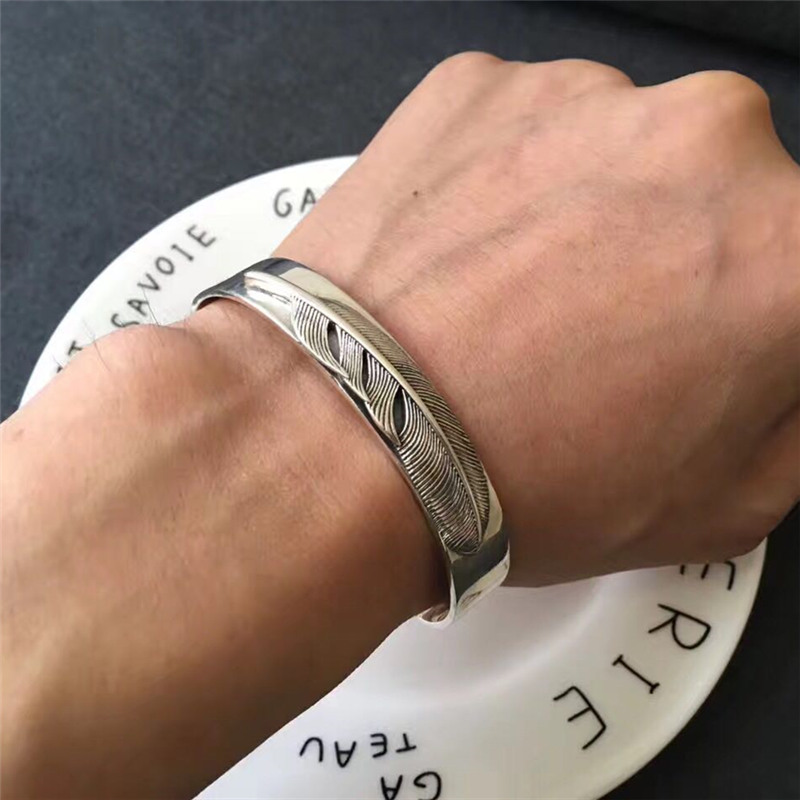 Handmade Indian Style Sterling Silver 925 Mens Cuff Bracelet Pure Oxide Silver Feather Bracelet Fashion Mens 925 Jewelry Gifts