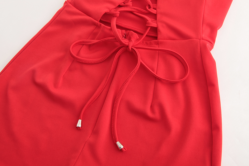Nadafair Red Black Backless V Neck Lace-up Sexy Bodycon Club Party Dress 2018 New Women Summer Casual Strap Dress 12