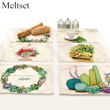2pcs/set Plant Design Non-Slip Placemat Table Mat for Dining Table Heat-insulated Kitchen Drawer Dinning Bowl Pad Mat