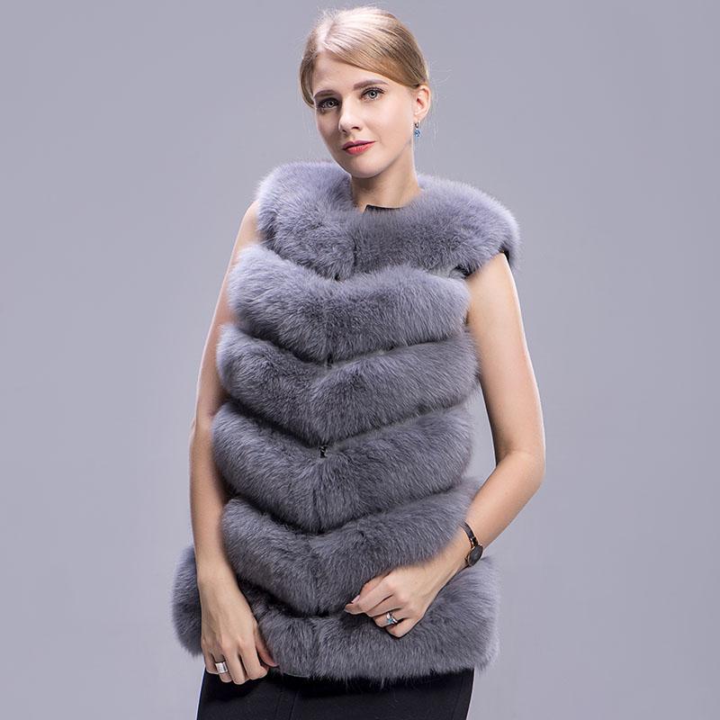 fox fur vest 6 lines grey 3