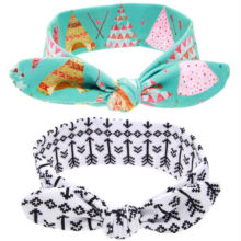 Lovely Girls Rabbit Ear DIY Headband Small House Arrow Print Hairband Turban Knot Head Wrap Hair Band Hair Accessories