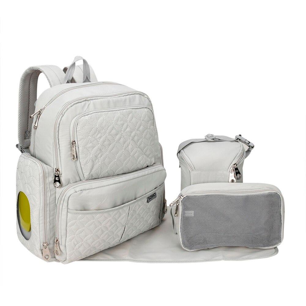 2017 New Nappy backpack Europe shoulder mummy bag Multi Pocket large mom bag five piece baby diaper bag maternity supplies<br>