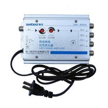 2017 new seebest 1 in 4 out 4 way CATV cable TV signal amplifier 30db gain RF signal amplifie Antenna signal amplifier for TV(China)