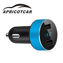 2017 Modern Car Charger with Mobile Phone Dual USB LED 5V 3.1A Car Charger Voltage Tester Compatibility Strong and Sturdy