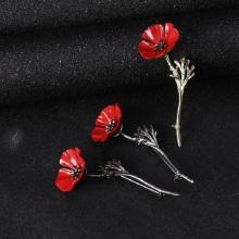 SHUANGR Brand Fashion Red Poppy Flower Brooch Vintage Collar Pins for Men Jewelry Brooches Pins Boutonniere Men Suit Accessories