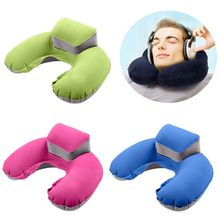 Hot 1 pc Air Blow Up Pillow Inflatable U Shape Pillow Cushion Soft Washable Neck Pillow
