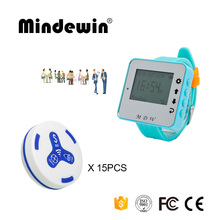 Mindewin 433MHz Wireless Call System 15PCS Table Call Button M-K-3 + 1PCS Watch Pager M-W-1 Reataurant Wireless Pager System(China)
