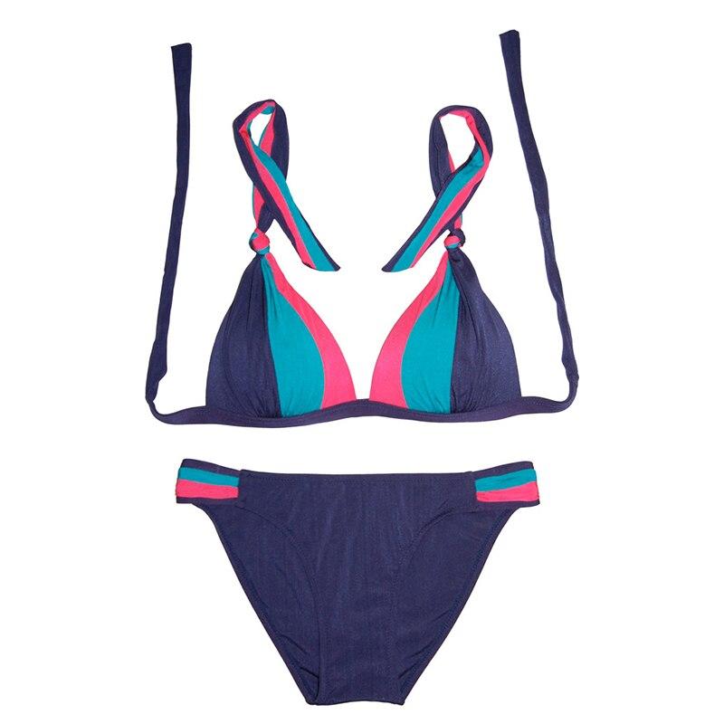 2017 New Ladys Bandeau Halter Bikini Swimsuit Sexy Push Up Padded Swimwear Women High Quality Multicolor Bathing Suit E124-1 <br><br>Aliexpress