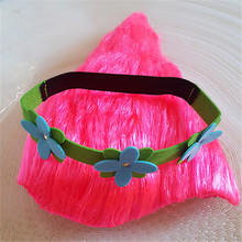 Trolls Wig for Kids Pink Costume Cosplay Party Supplies Kids Hairs Hat Wig with Hair band 2017 Newest