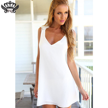 Buy Mini Beach Dress Sexy V Neck Sleeveless White Summer Dress Beach Backless Dresses 2018 New chiffon lace short white halter dress
