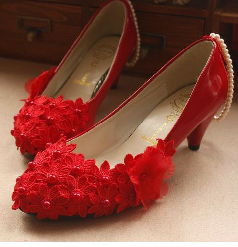 Red mid low high heels party wedding bridal pumps shoes red, flower lace design ankle pearls womans parties pumps shoe<br><br>Aliexpress