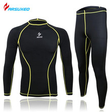 ARSUXEO Brand Suit Running Fitness Bodybuilding Tights Base Layer Cycling Clothing Men Sports Clothing Shirt Pant Jersey(China)