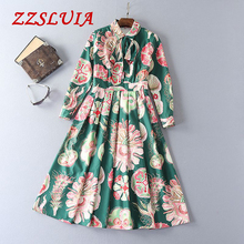 S-XL Retro printed bow designer turn down collar long sleeve slim pleated dresses 2017 new nice women's dresses 965(China)